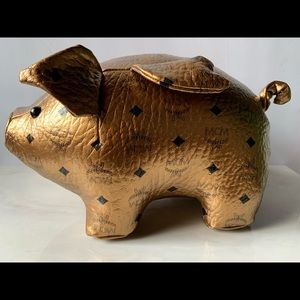 MCM gold leather pig